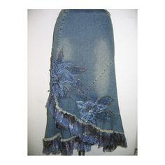 This Layered denim skirts combines denim and...