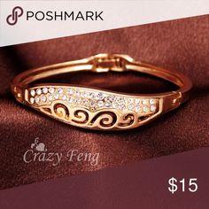Rose Gold Plated Bangle Bracelet ... 18k gold plated rose gold Austrian crystal bangle Jewelry Bracelets