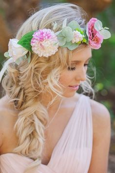 Flowers are too big, but I love the volume of the braid and curls