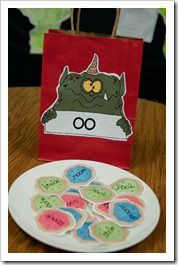 """The cOOkie monster -- learning about the /oo/ {as in cookie} sound. In this activity, kids sort through /oo/ words on little cookie cut-outs and """"feed the cookie monster"""" with the cookies that had the /oo/ {as in foot} words."""