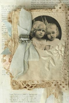 gives me ideas!!!!!----MIXED MEDIA FABRIC COLLAGE BOOK OF LITTLE ANGELS | eBay