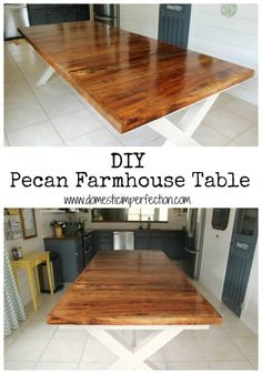 Large DIY dining room table made from pecan and pine.