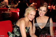 Actresses January Jones and Elisabeth Moss attend the 64th Primetime Emmy Awards Governors Ball...