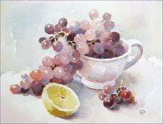Grapes - Watercolor by Maria Stezhko