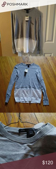 Marc Jacobs Pavilion combo sweater Frost Grey So comfy and cute it's very thin just too small for me. The bottom half of the top is sheer but beautiful material that's kind of shimmery perfect for fall. Marc by Marc Jacobs Tops Tees - Long Sleeve