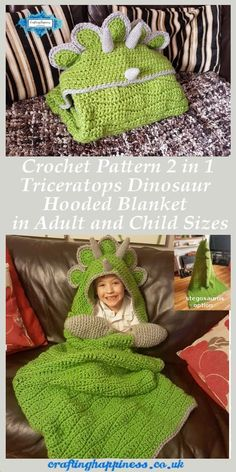 Hooded Dinosaur Blanket is a crochet pattern for a full body blanket with hood that folds into a dinosaur pillow. Make this hooded dinosaur blanket with the easy crochet pattern from Crafting Happiness Crochet Beanie, Baby Blanket Crochet, Crochet Baby, Free Crochet, Free Knitting, Baby Afghans, Easy Crochet, Dinosaur Blanket, Niklas