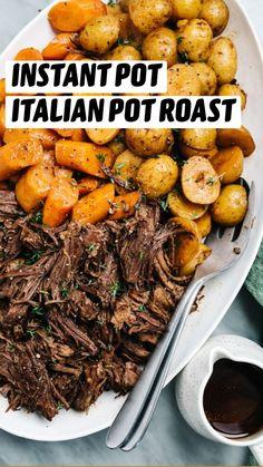 Meat Recipes, Crockpot Recipes, Cooking Recipes, Paleo Meals, Recipies, Instant Pot Pressure Cooker, Pressure Cooker Recipes, Pressure Cooking, Italian Pot Roast