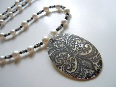 Black and White Necklace Pearls Crystal With Etched by JuJuBeader, $75.00