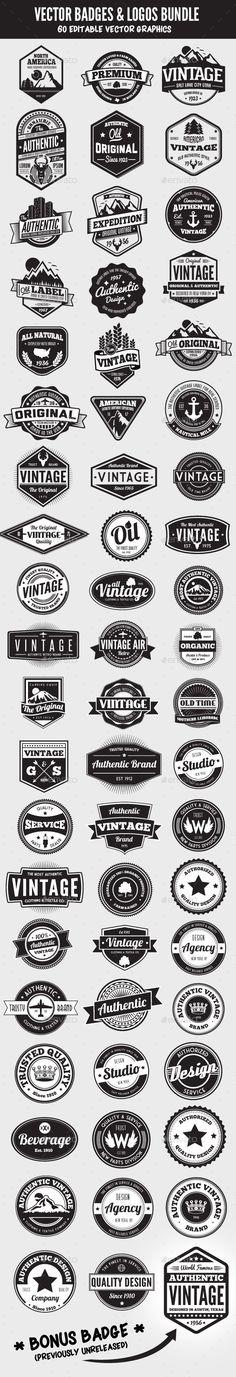 60 Badges and Logos Bundle - Badges & Stickers Web Elements