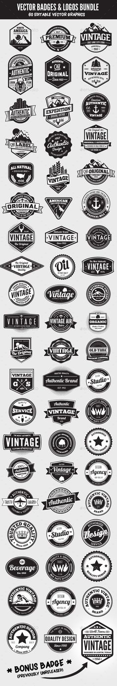 60 Badges and Logos Bundle - Badges & Stickers Web Elements