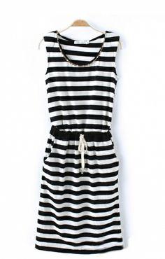 Stripes Printing Diamond Neckline Sleeveless Dress