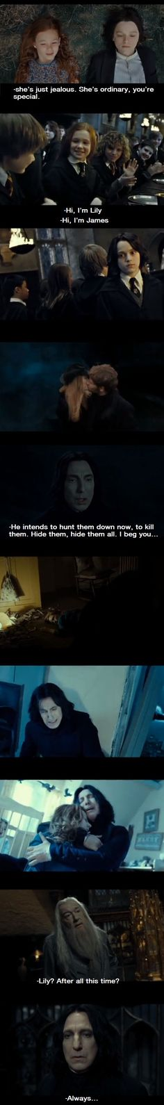 Snapes love for Lily was endless. Never in my Harry Potter days have I cried so much when I saw Snapes memories. - Imgur