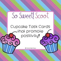 On Valentine's Day, or any time of the year you want to build a positive classroom community, the So Sweet! Scoot activity will do the job for you.  The Task Cards are designed with adorable, colorful cupcakes. Your students will enjoy writing and delivering compliments about one another.You will receive:35 Cupcake Task Cards A set of Recording SheetsA handy Suggestions Page.