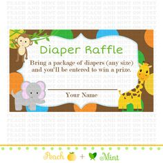 Printable Safari or Jungle Baby Shower Diaper by PeachAndMint