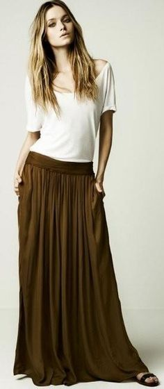 long skirts  Love the color, the waist band, and the length