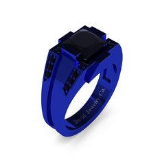 Mens Modern 14k Red Gold 2.0 Carat Princess Black Diamond Ring R1020M-14KREGBD