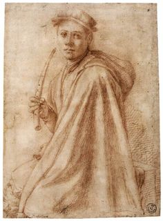 Youth with a Recorder - PONTORMO 1541-43, Red chalk, 272 x 196 mm - Galleria degli Uffizi, Florence