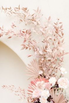 Soft neutral pink painted paper fans in an arch shape on the ceremony backdrop with roses and pink painted greenery by The Dainty Lion, Estancia La Jolla Garden Courtyard wedding by Cavin Elizabeth Photography Dried Flower Arrangements, Dried Flowers, Pink Flowers, Bouquet Flowers, Whimsical Wedding, Floral Wedding, Wedding Flowers, Flower Installation, Ceremony Backdrop