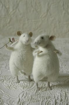 love! white needle felted mice