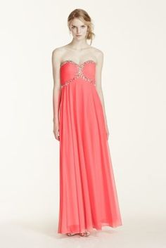 Effortlessly exquisite and ultra chic, this jeweled prom dress from David's Prom is a stunning look for prom night!