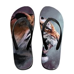 Angry Tiger Art Unisex's Flip Flops * To view further for this item, visit the image link.