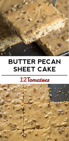 Butter Pecan Sheet Cake -The perfect sheet cake for fall! Friends are always requesting the recipe :)   Written recipe: http://po.st/wPTMjM