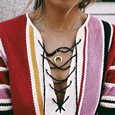 Instagram.com/sincerelyjules #necklace #horn #gold