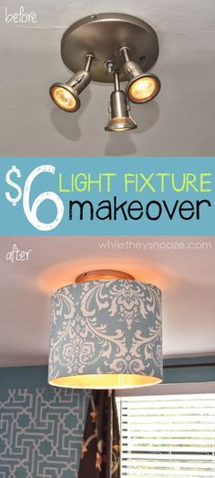 Pretty Light fixture makeover using Premier Prints Fabric from OnlineFabricStore.net. Nice work @While They Snooze!