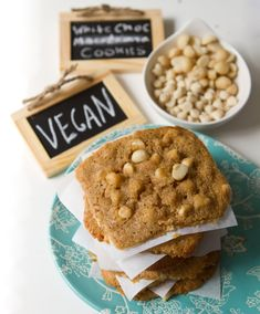 White Chocolate Chip Macadamia Nut Cookies with hints of ginger, vanilla and cinnamon - vegan treat!