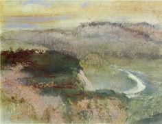 Landscape With Hills, 1890 - Edgar Degas.This is so beautiful...but his inside scenes of people, dancers are so much more vibrant and the subject matter lends itself to his style so much more than landscapes.