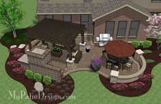 Curvy Outdoor Living Design with Pergola and Fireplace | 630 sq ft | Download Installation Plan, How-to's and Material List @Mypatiodesign.com