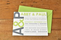 Modern Initials Wedding Invitation in Green Apple & Slate  www.paperandpinafore.etsy.com