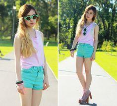 Mint Sunnies (by Chloe T) http://lookbook.nu/look/3214859-Nastygal-Sunnies-Topshop-Pink-Sleeveless-Top