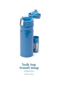 Sip on the go with this flip-top travel mug, with a leak-preventing locking lid.