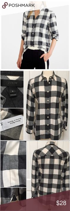 """{J.Crew} Flannel Shirt in Black Buffalo Check BRAND:J.Crew ITEM: Flannel Shirt in Black Buffalo Check FEATURES: Button Front, Split Side Hem FABRIC:99% Cotton, 1% Elastane  SIZE: 6 CONDITION:EUC  MEASUREMENTS Bust: 19"""" Length: 26"""" front, 27"""" back  Sleeve: 23""""  PLEASE NOTE: Measurements are approximate and taken while item is laying flat  ALL ITEMS SHIP FROM SMOKE FREE HOME. NO Trades. NO Holds. NO PayPal. NO Lowball Offers. Offer Button Only. J. Crew Tops Button Down Shirts"""