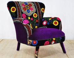 Suzani armchair - deep purple