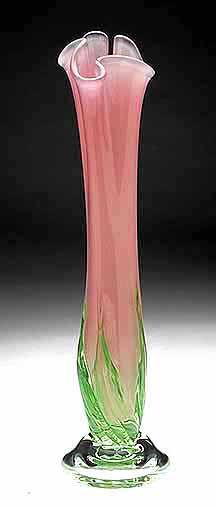 White Elks Pink Rose Blown Glass Vase