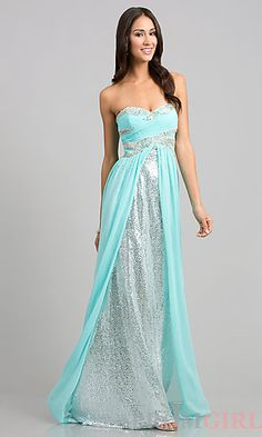 Long Strapless Dress with Sequin Underlay by Bari Jay at PromGirl.com