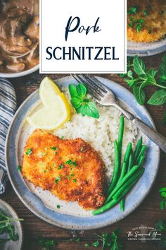 Mom's Pork Schnitzel is crisp and golden brown on the outside, and tender on the inside. Serve the pan-fried pork chops with a quick mushroom gravy, mashed potatoes, rice or noodles, and a simple green vegetable. Jägerschnitzel is an easy 30-minute weeknight dinner that makes everyone at the table happy! Schnitzel Recipes, Pork Schnitzel, Weeknight Meals, Quick Meals, Pan Fried Pork Chops, Pork Recipes For Dinner, Mushroom Gravy, Skillet Dinners, Meal Prep