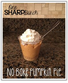 Bake Pumpkin Pie Recipe Easy no bake pumpkin pie in a cup. just three ingredients and whip cream!Easy no bake pumpkin pie in a cup. just three ingredients and whip cream! Pumkin Pie, No Bake Pumpkin Pie, Pumpkin Pie Recipes, Baked Pumpkin, Pumpkin Dessert, Pumpkin Pie In A Cup Recipe For Kids, Kids Cooking Party, Preschool Cooking, Cooking With Kids