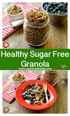 Healthy Sugar Free Granola - We were able to get this granola crunchy, even without adding any sugar at all! http://www.superhealthykids.com/healthy-sugar-free-granola-recipe/