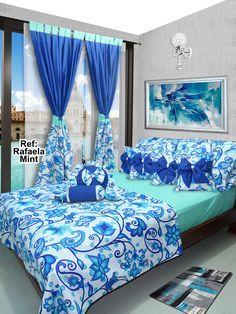 Ref: Rafaela Mint 💙  Disponible en cortinas, cojines, juegos de baño y sábanas en todas las medidas. #Rafaela #Dalotex #Lenceria #Hogar #Sabanas #moda #colors #SabanasDalotex #Azul #blue #Rose #Paisley #Women #Men #Mint #Flower Creative Beds, Bed Cover Design, Polka Dot Bedding, Sewing Room Decor, Bedroom Decor For Couples, Colourful Living Room, Bedroom Images, Room Color Schemes, Home Room Design