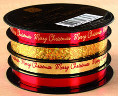 These luxury foil and holographic ribbon spools are supplied in a shelf ready display tray, 24 spools per tray making the perfect festive addition to your retail space http://tomsmith-traderetail.com/product/luxury-ribbon-spools-red-gold/?