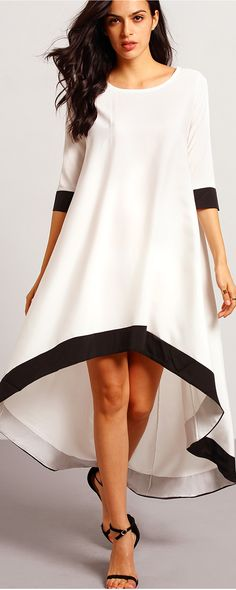White Round Neck Contrast Trims High Low Dress - shein.com