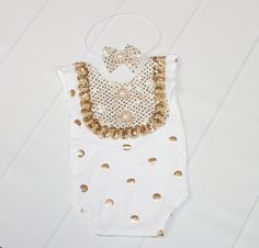 Midas Touch - newborn romper set in white with gold metallic polka dots - open in back with headband (RTS) by SoTweetDesigns on Etsy