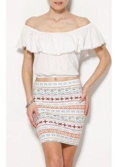 Krátke volánové tričko #ModinoSK #WHITE #top #offshoulders Off The Shoulder, Skirts, Tops, Fashion, Moda, Fashion Styles, Skirt, Fasion