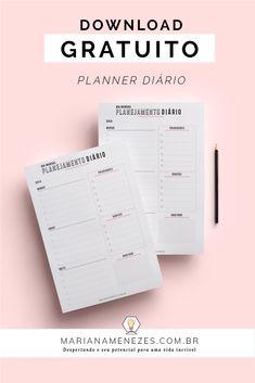 Planner diário gratuito para download! Seja mais produtivo e organizado | planner diário, daily planner, planner para download, planner gratuito, dicas de organização, dicas de produtividade, planejador diário, to do list, lista de tarefas Download Planner, Free Planner, Blog Planner, Printable Planner, Agenda Planner, Study Planner, Planner Stickers, Planner Diario, Planners