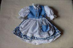 1-Puppenkleid-Dirndl-blau-weiss-26-cm-lang