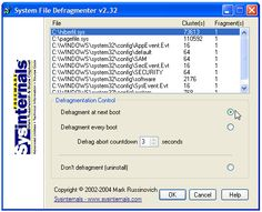 Defragment Your System Files (Pagefile and Registry) in Windows XP