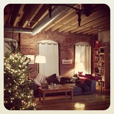 Living room loft layout around the holidays